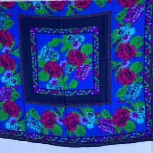 Vintage Square scarf 100% silk Roses